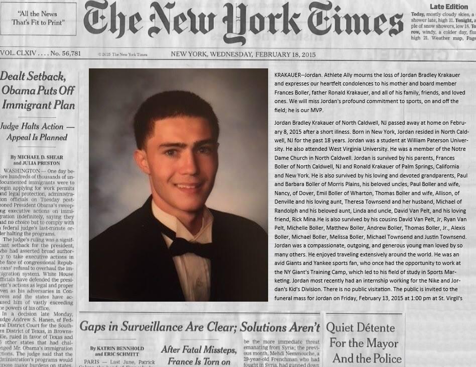 Jordan's Obituary in New York Times – JBK Scholarship